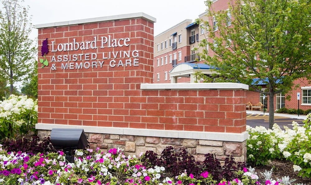 Monument of our senior living facility in Lombard, IL