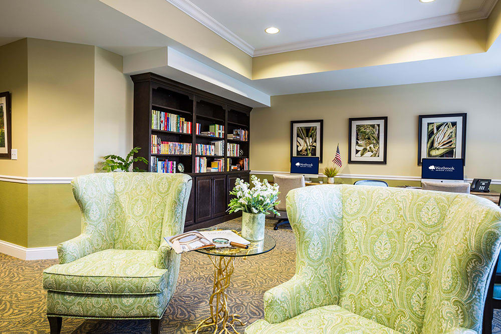 Community Library Room at Westbrook Senior Living