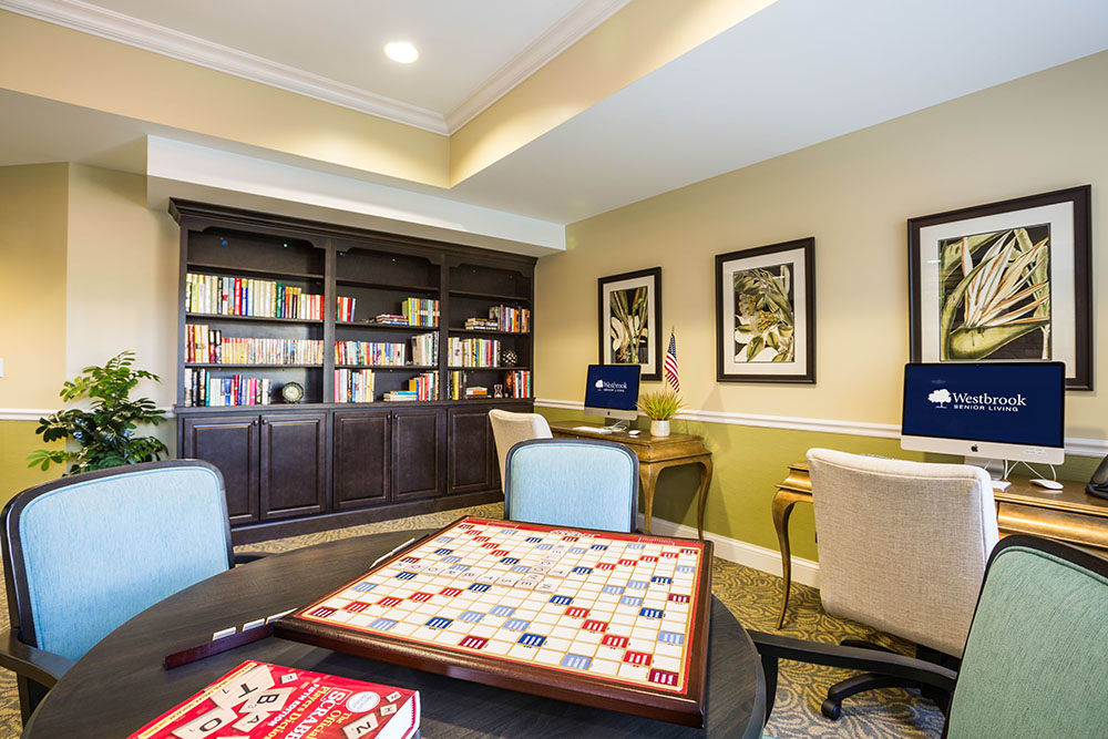 Join us for games in our Game room at Westbrook Senior Living