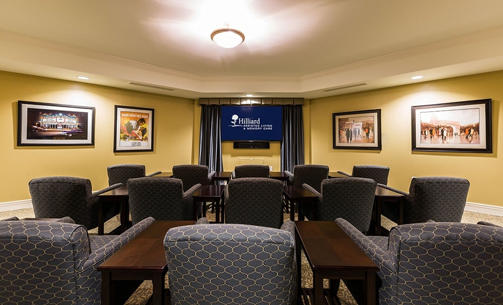 Movie Theater at our assisted living community in Hilliard, OH