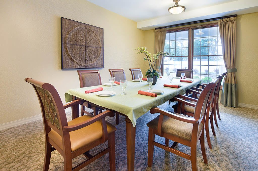 Dining room inside apartment at The Village at Hamilton Pointe