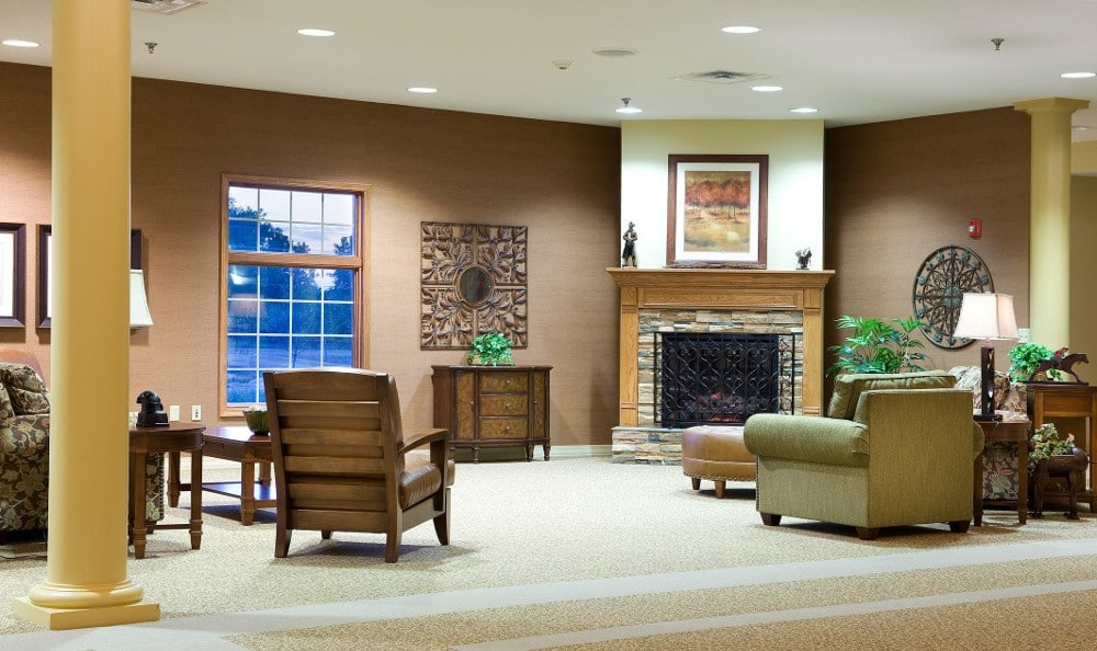 Cozy Sitting Area by the Fireplace at Ashton Creek Health & Rehabilitation Center