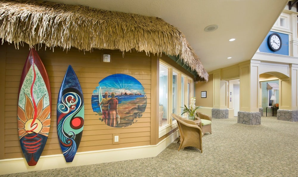 Our senior living beach room here at The Village at Vienna Square