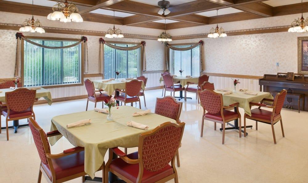 Dining area inside senior apartments at the senior living community in Muncie