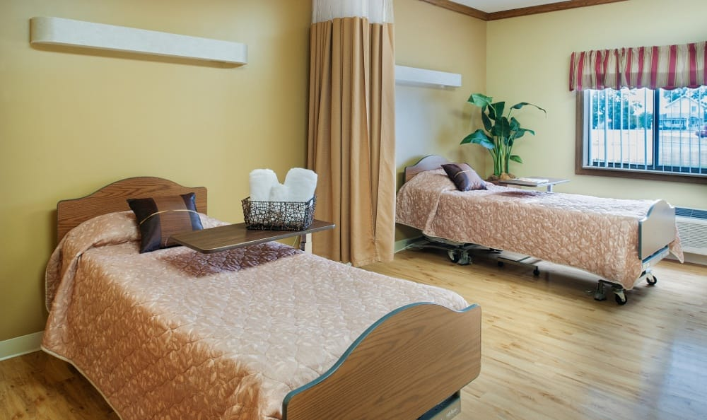 Spacious bedrooms at our senior living facility in Muncie