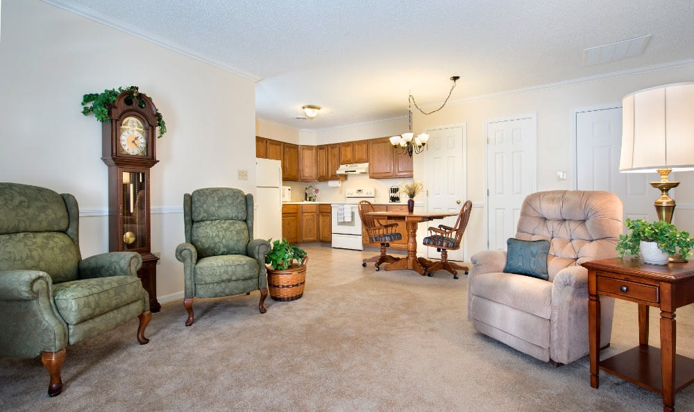Spacious living rooms here at our Marion, IN retirement community