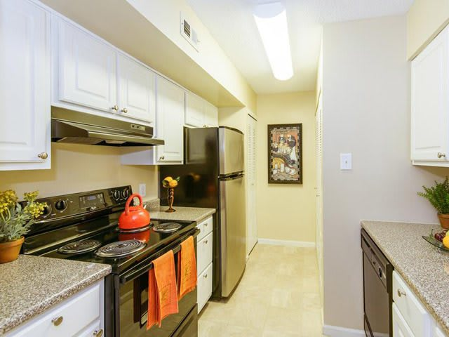 Kitchen into hallway at Brookview Apartments.
