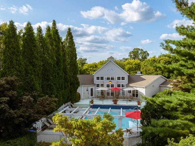 Scenic pool view at Brookview Apartments.