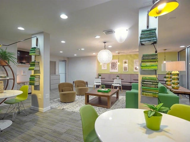 Clubhouse lounging area at West River Apartments.