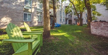 Community outdoor sitting area at West River Apartments
