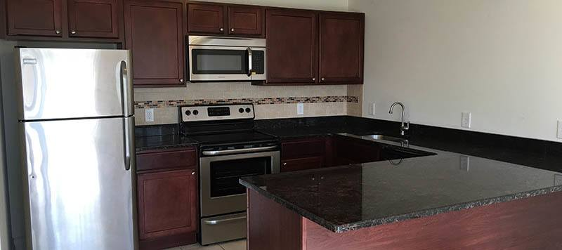 Open kitchens at our Coram apartments