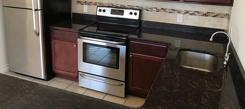 Remodeled kitchens at our Coram apartments