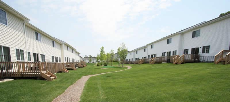 Pathway through community at The Preserve in Coram, NY.
