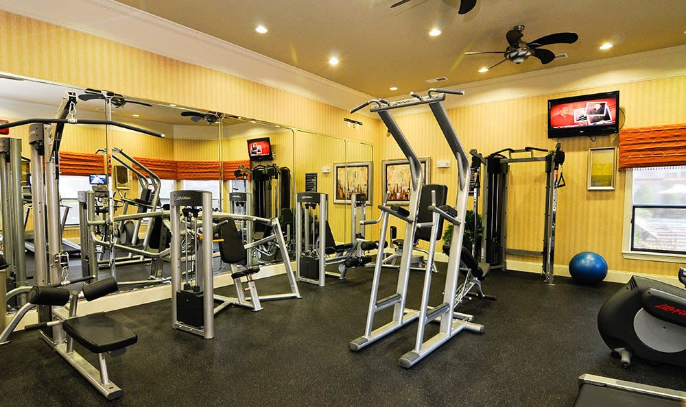 Fitness center at Cordova apartments
