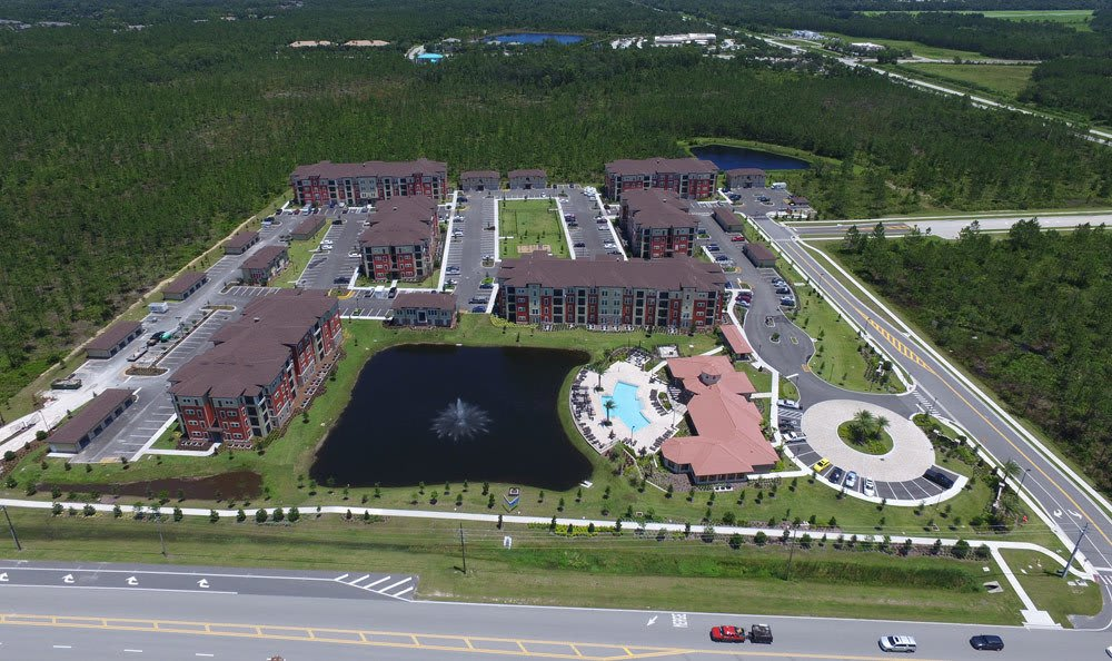 Aerial view of apartments and club house at Sands Parc