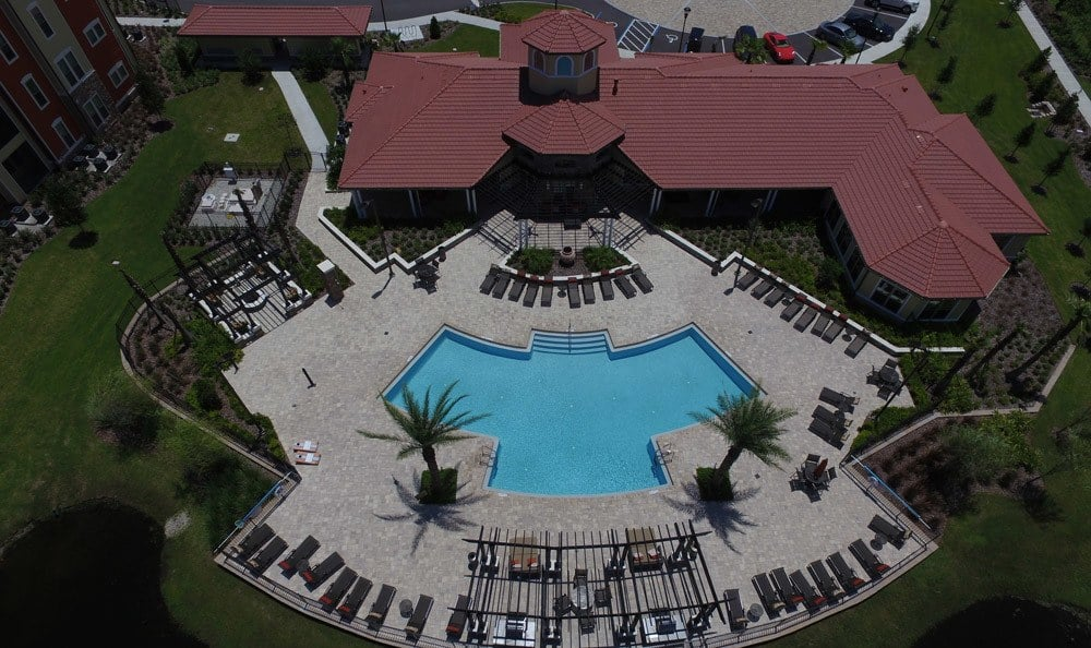 Aerial view of the pool deck at apartments at Sands Parc