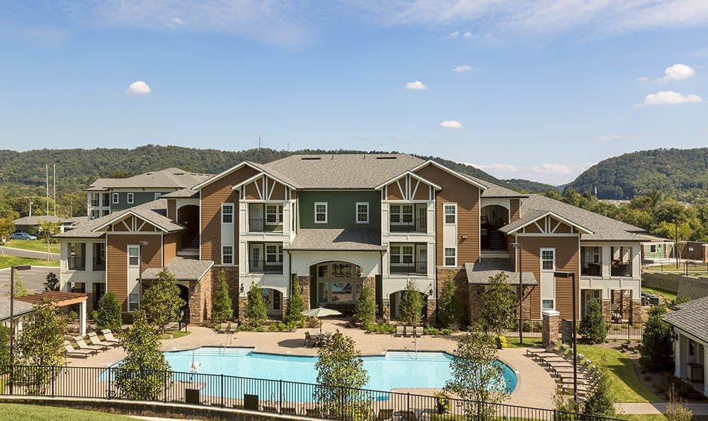Our Ooltewah apartments clubhouse and pool