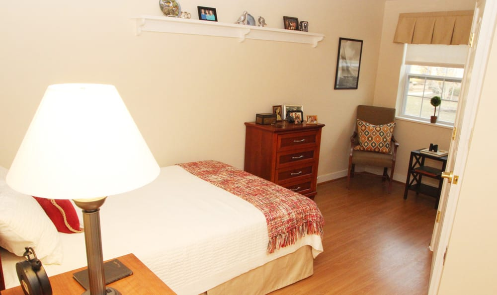 Spacious bedroom at senior living in Branford