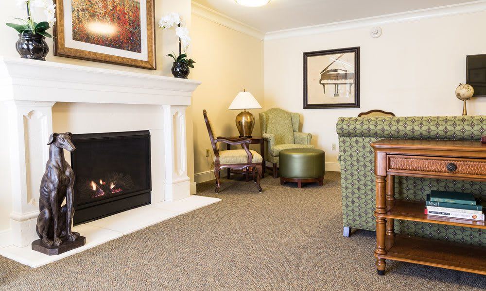 A fireplace at Artis Senior Living of Evesham in Evesham, New Jersey