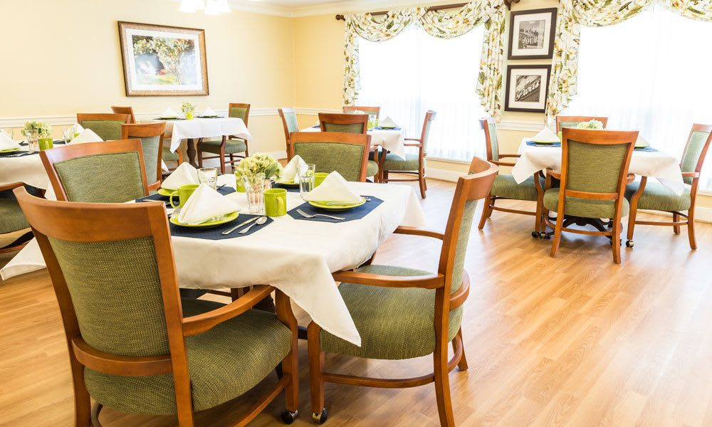 Dining tables at Artis Senior Living of Evesham in Evesham, New Jersey
