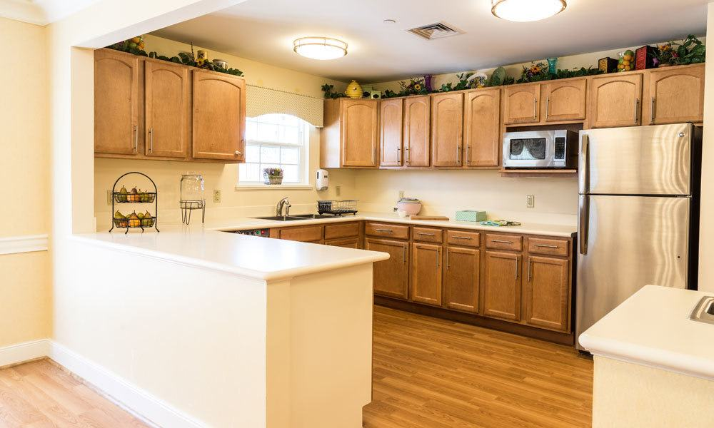 An apartment kitchen at Artis Senior Living of Evesham in Evesham, New Jersey