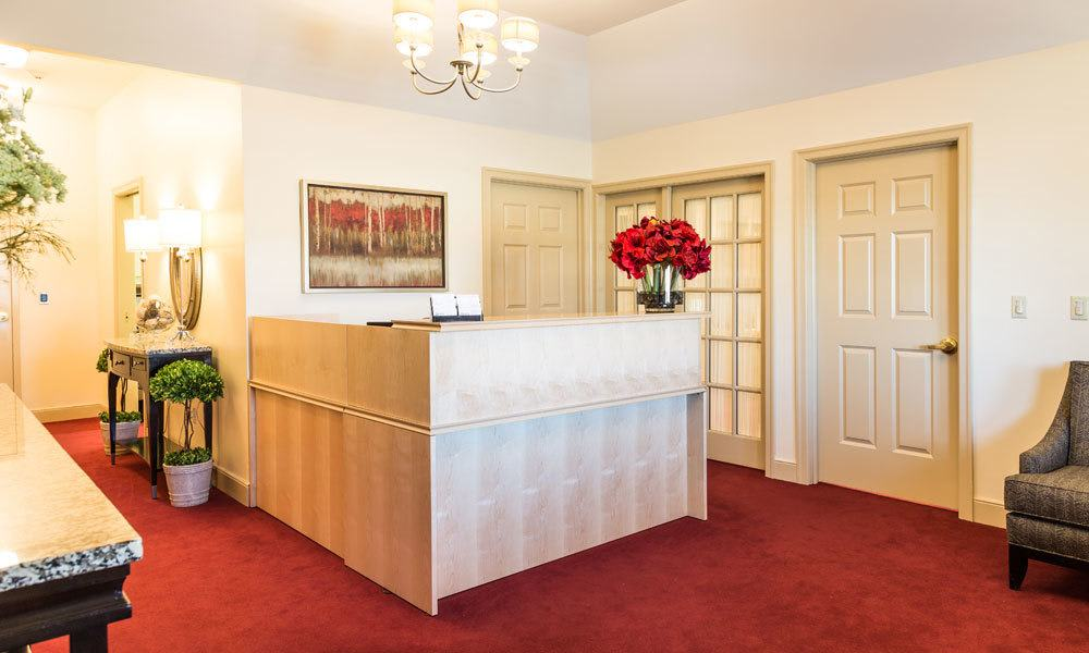 The reception desk at Artis Senior Living of Evesham in Evesham, New Jersey