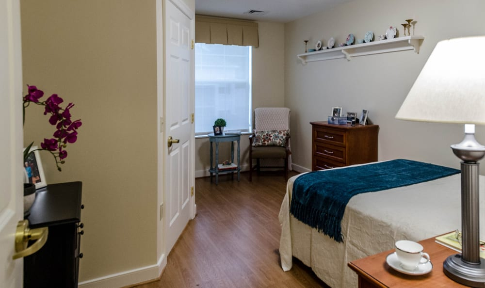 Spacious bedroom at senior living in Reading