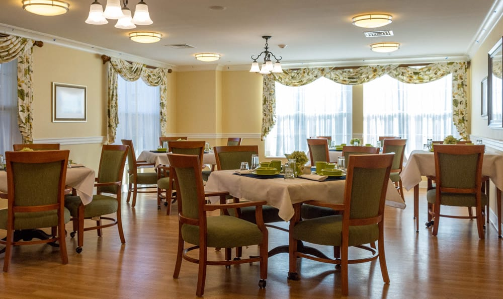 Senior living in Reading includes an elegant dining room