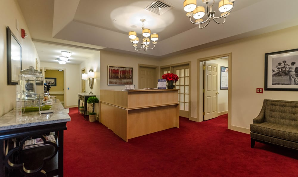Cozy lobby at senior living in Reading