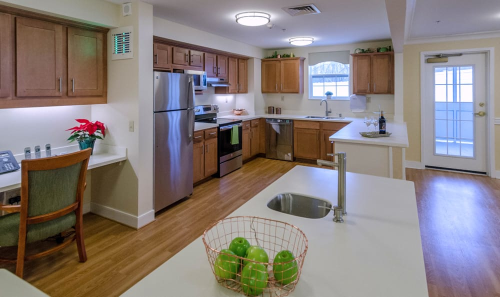 Kitchen at senior living in Artis Senior Living of Reading