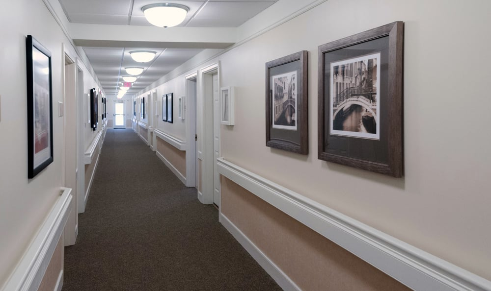 Hallway at senior living in Reading