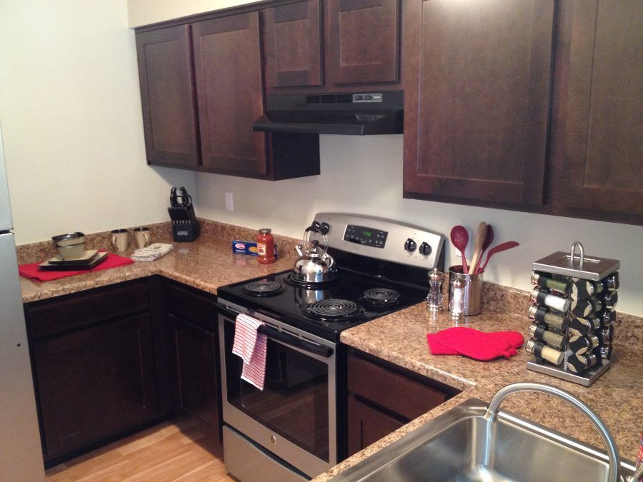 Kitchen room at apartments in Southfield, MI