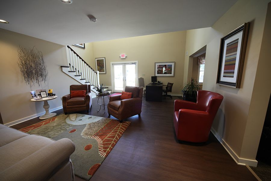 Comfy living room at apartments in Greenwood, IN