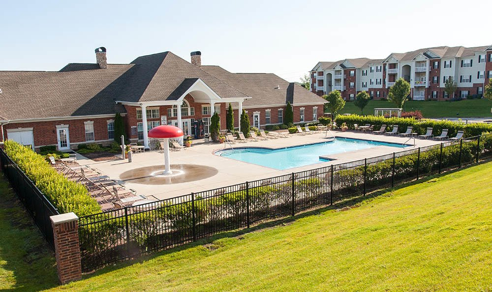 Resort Style Swimming Pool With Splash Zone at O'Fallon Lakes in O'Fallon, MO