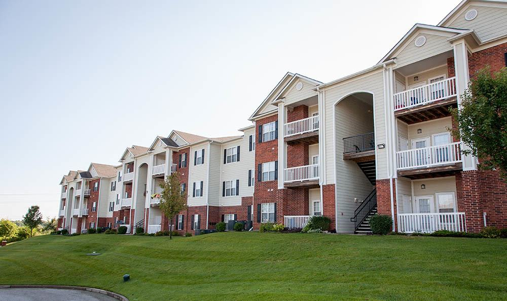 Stylish Apartment Exterior at O'Fallon Lakes in O'Fallon, MO