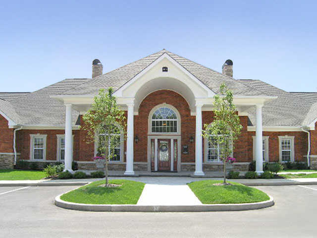 exterior clubhouse at apartments in Wentzville, MO