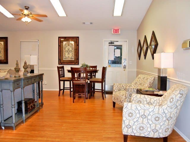 Living and dining room at Meadow Wood Apartments