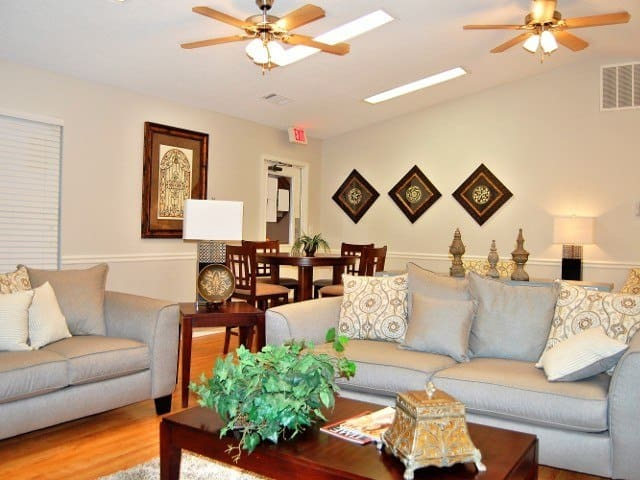 Spacious living room at Meadow Wood Apartments
