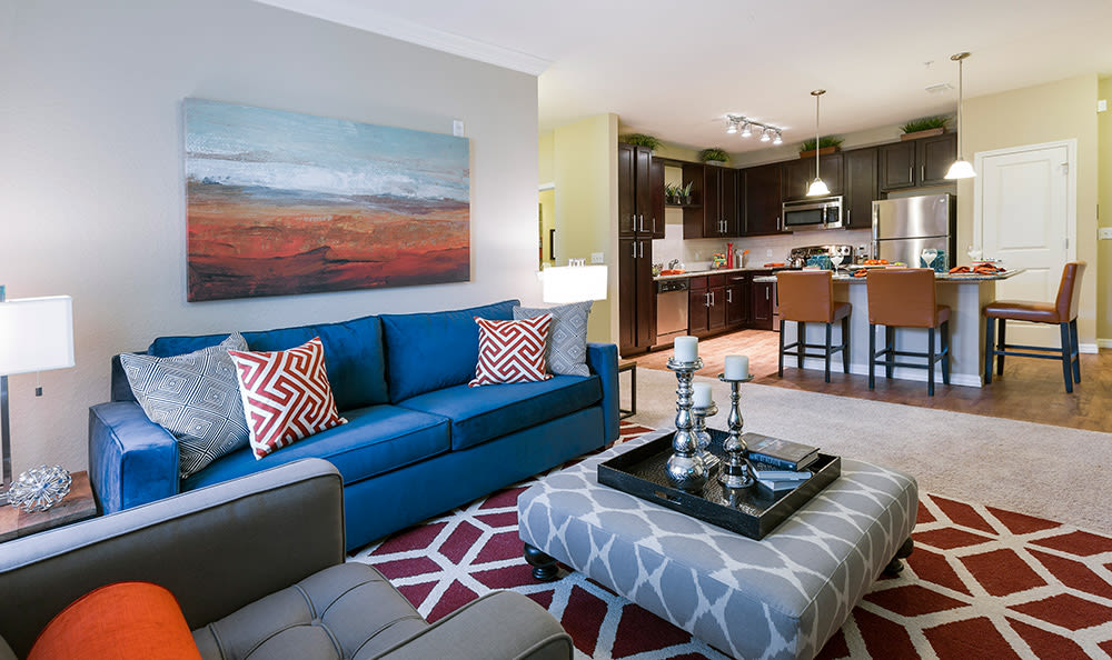 Beautifully decorated apartment home's living room at Integra Cove in Orlando
