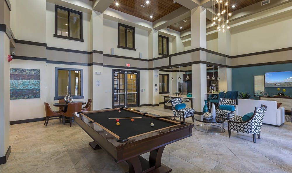 View of the billiards table at Integra Cove in Orlando