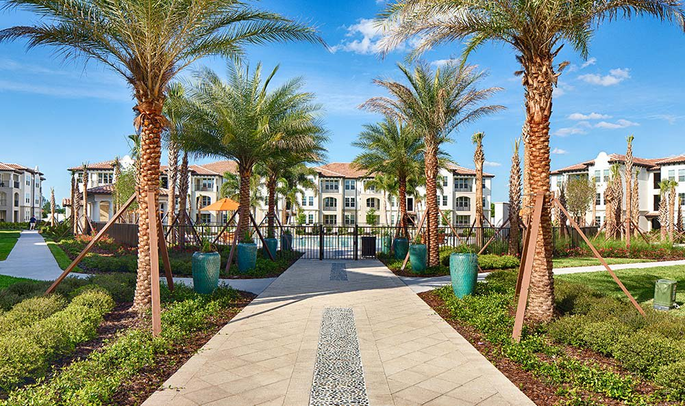 Beautiful walkway up to the Park Place at Maguire luxury community