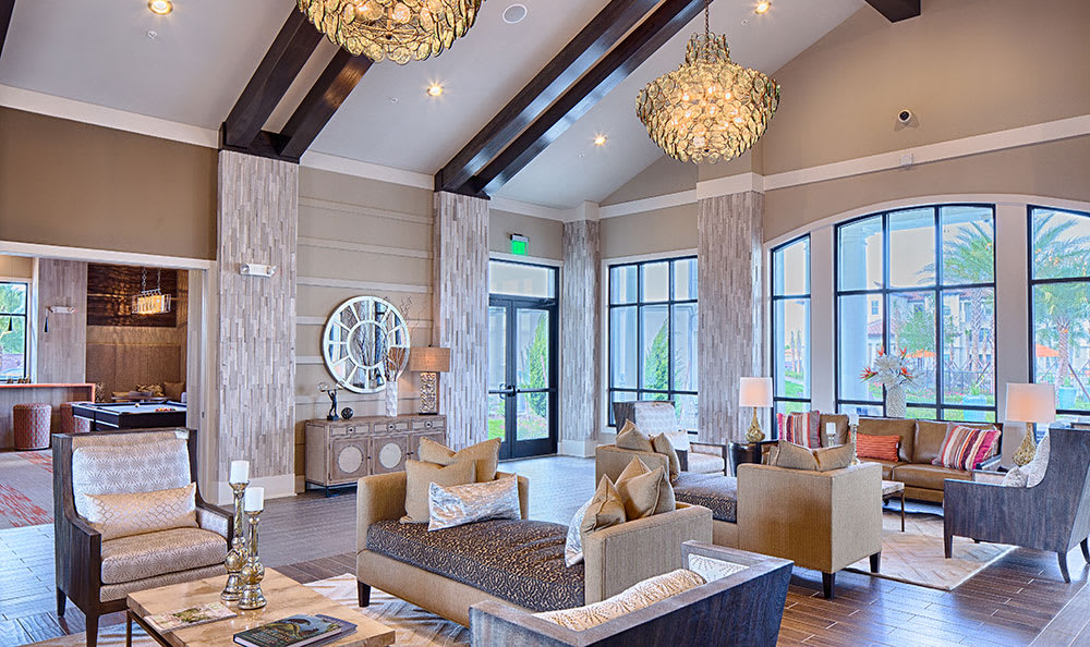 Interior view of the gorgeous clubhouse at Park Place at Maguire