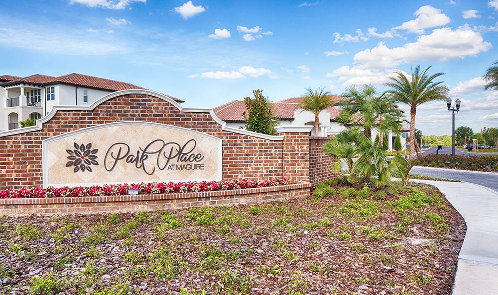 Sign welcoming residents and guests at Park Place at Maguire