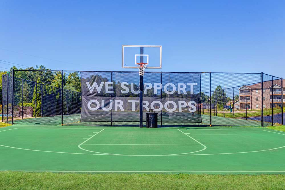 Southgate Landing has a basket ball court and they support our troops!