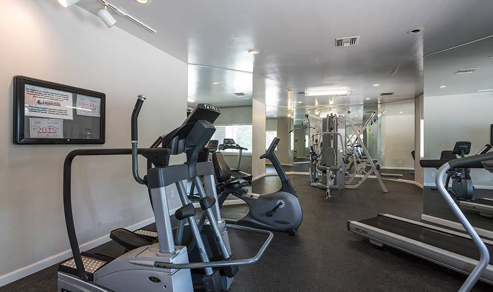 Fitness center at Sunbrook Apartments in Saint Charles