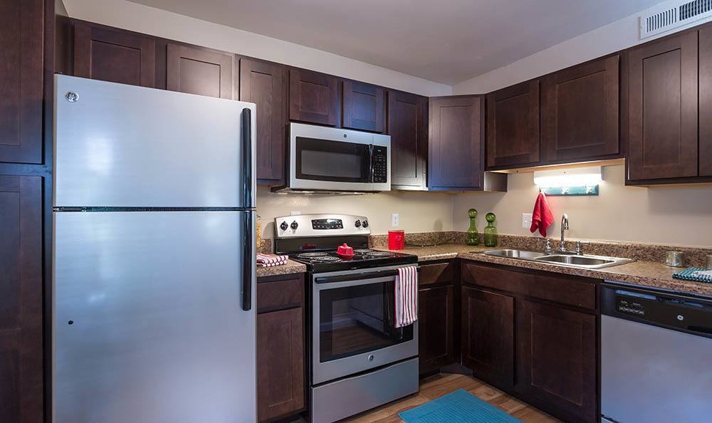 Stainless steel appliances at apartments in Saint Charles, MO