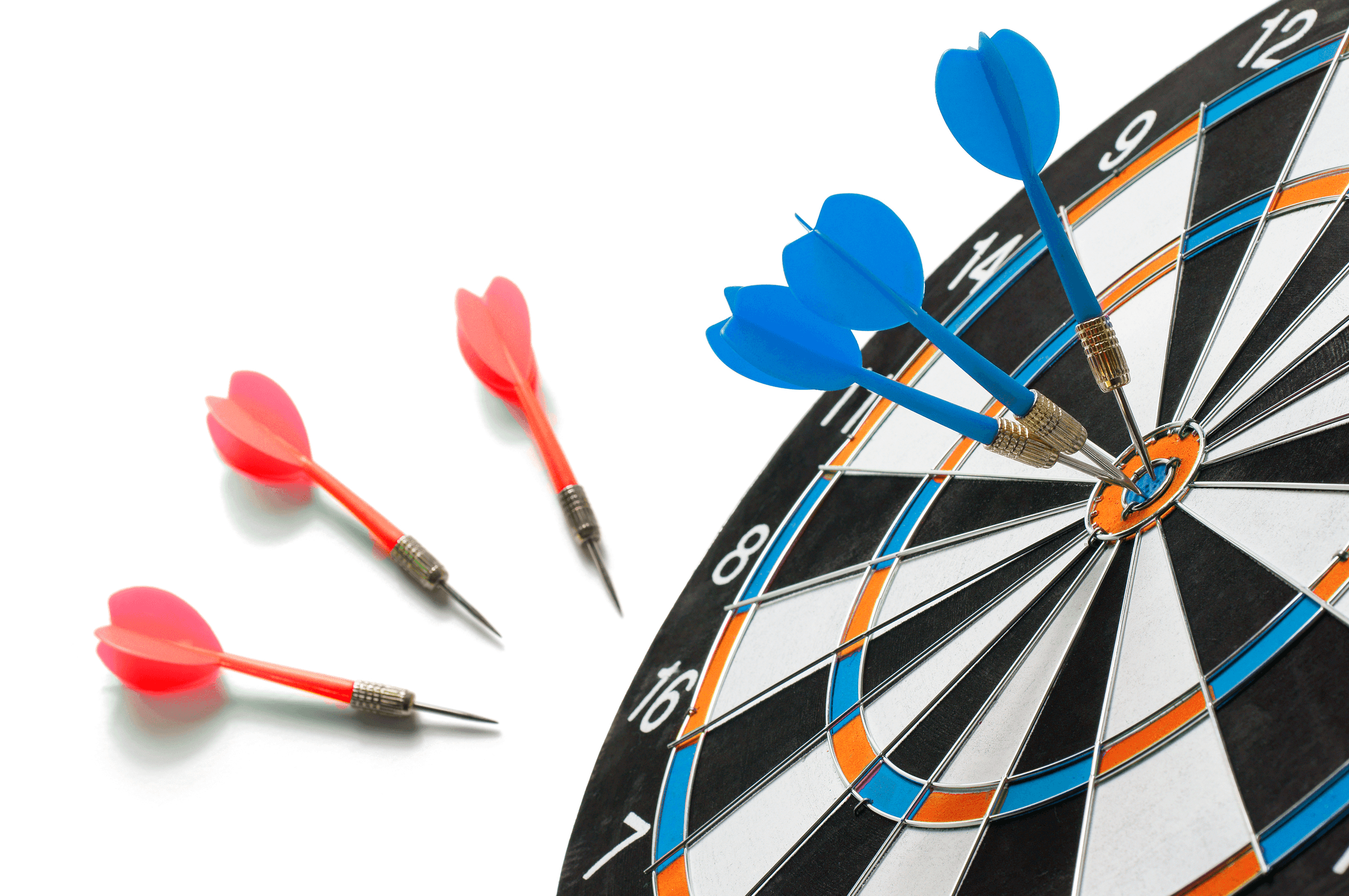 Dart Board with Blue and Red Darts