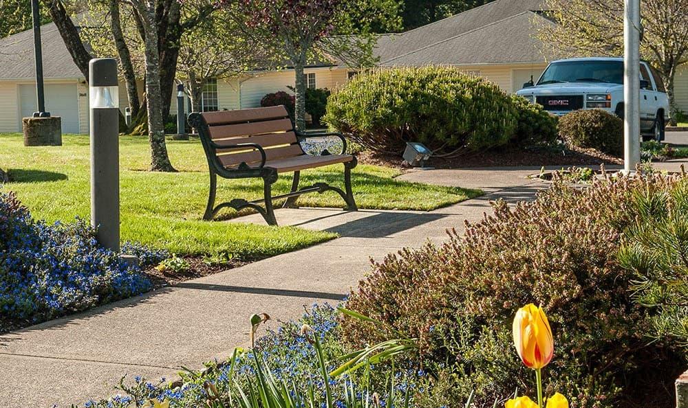 Bench outside of senior living in Lincoln City
