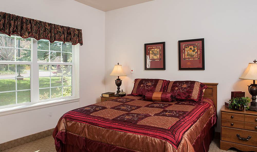 Bedroom at senior living in Lincoln City