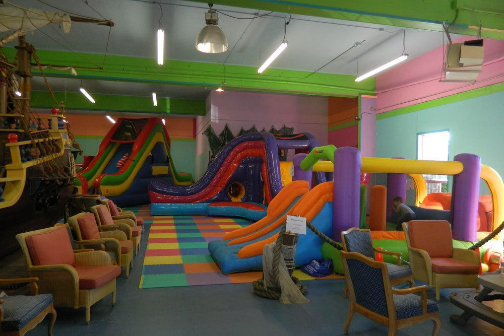 Another view of the bounce house play area at Aquarium Village